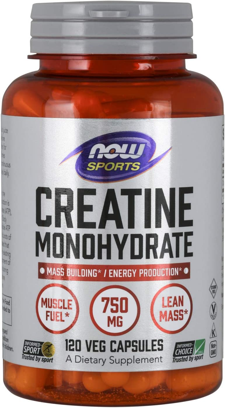 NOW Sports Nutrition, Creatine Monohydrate 750 mg, Mass Building*/Energy Production*, 120 Capsules