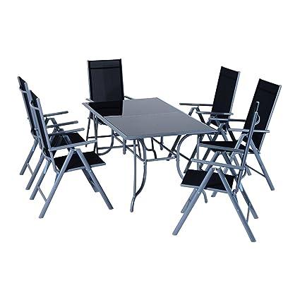 Outsunny Conjunto de Muebles de Jardín con Mesa y 6 Sillas Plegables de Metal Tipo Mesa Comedor de Vidrio Templado y Aluminio