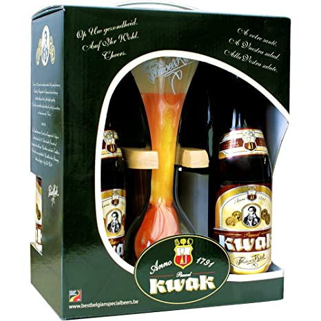 Estuche Pack 4 cervezas Kwak 33Cl. + Vaso Kwak