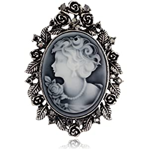 64dc39c9a Danbihuabi Vintage Crystal Cameo Lady Maiden Flower Brooch(silver  Plated,gold Plated)