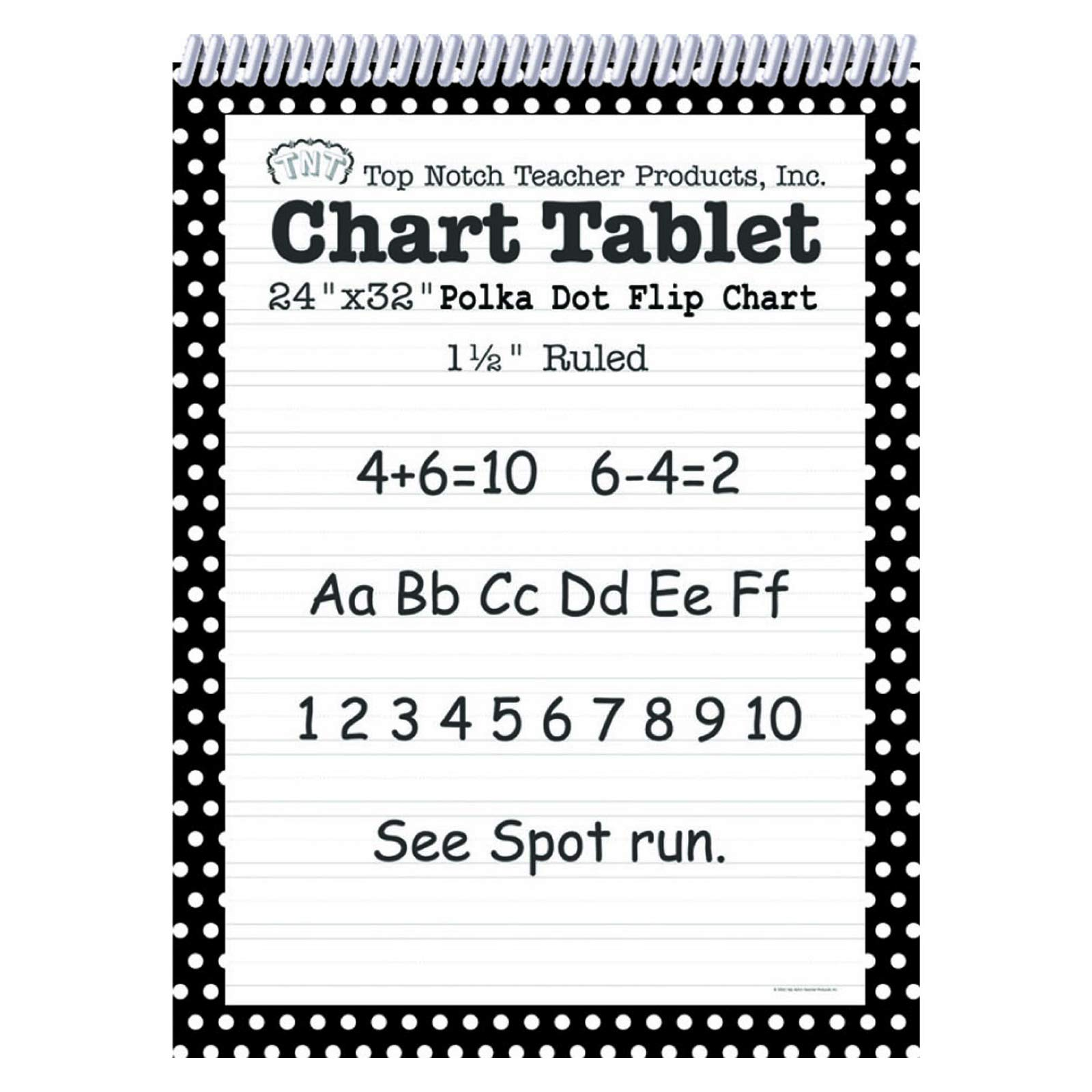 Top Notch Teacher Products TOP3849BN Chart Tablet, 24'' x 32'', 1-1/2'' Ruled, Black Polka Dot, 25 Sheets, Pack of 2 by Top Notch Teacher Products