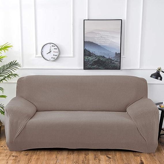Funda de Sofá Elástica de 3 Plazas de Punto,Tejido Jacquard de Poliéster y Cubre Sofa Universal Cubierta de Muebles Elegante y Duradera,Desmontable y ...
