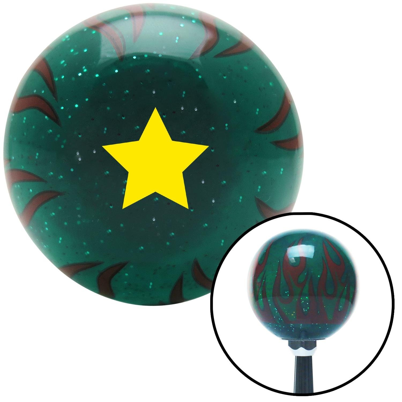 Yellow Star Green Flame Metal Flake American Shifter 300173 Shift Knob