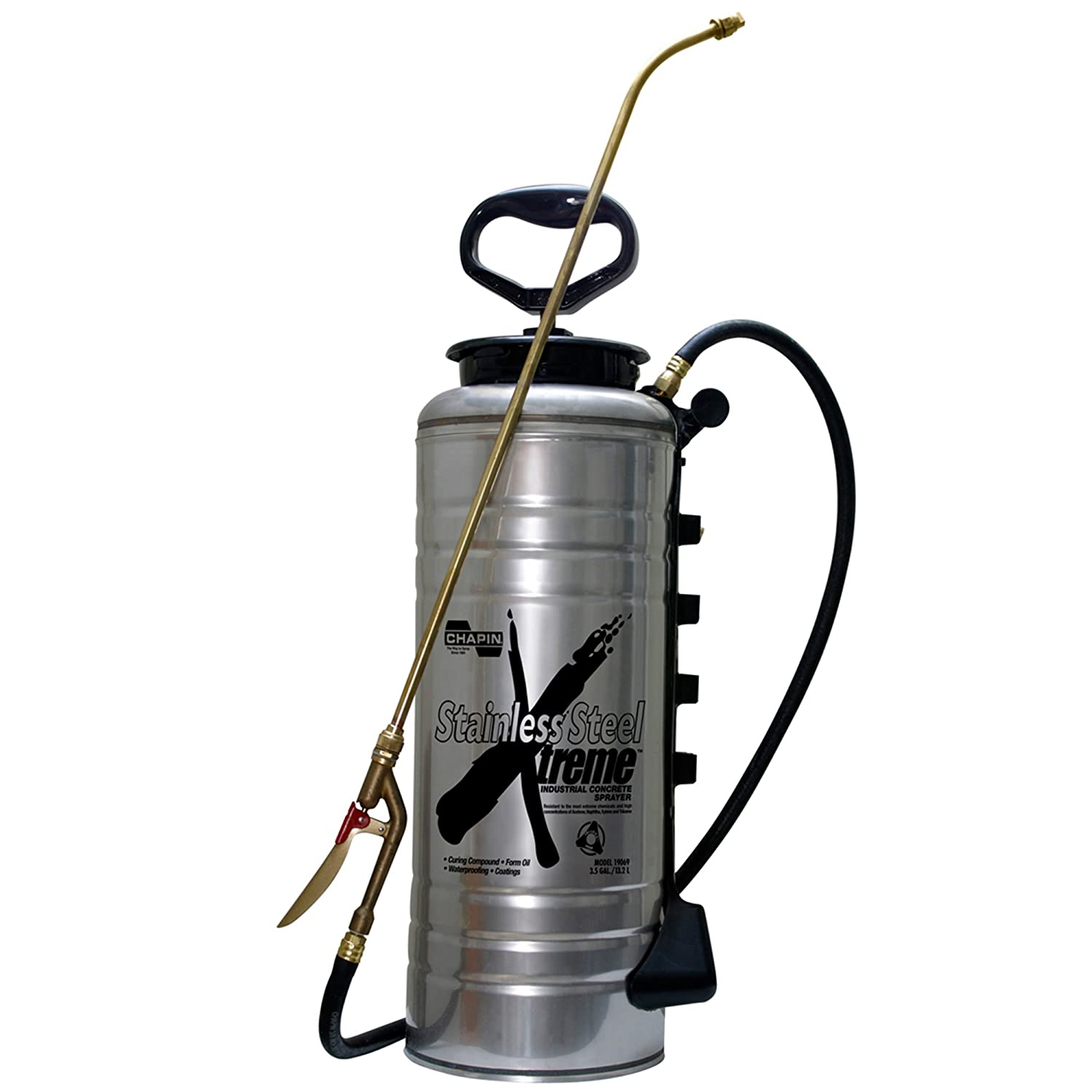 Chapin 19069 3.5-Gallon Xtreme Stainless Steel Concrete Open Head Sprayer for Professional Concrete Applications 1 Sprayer Package