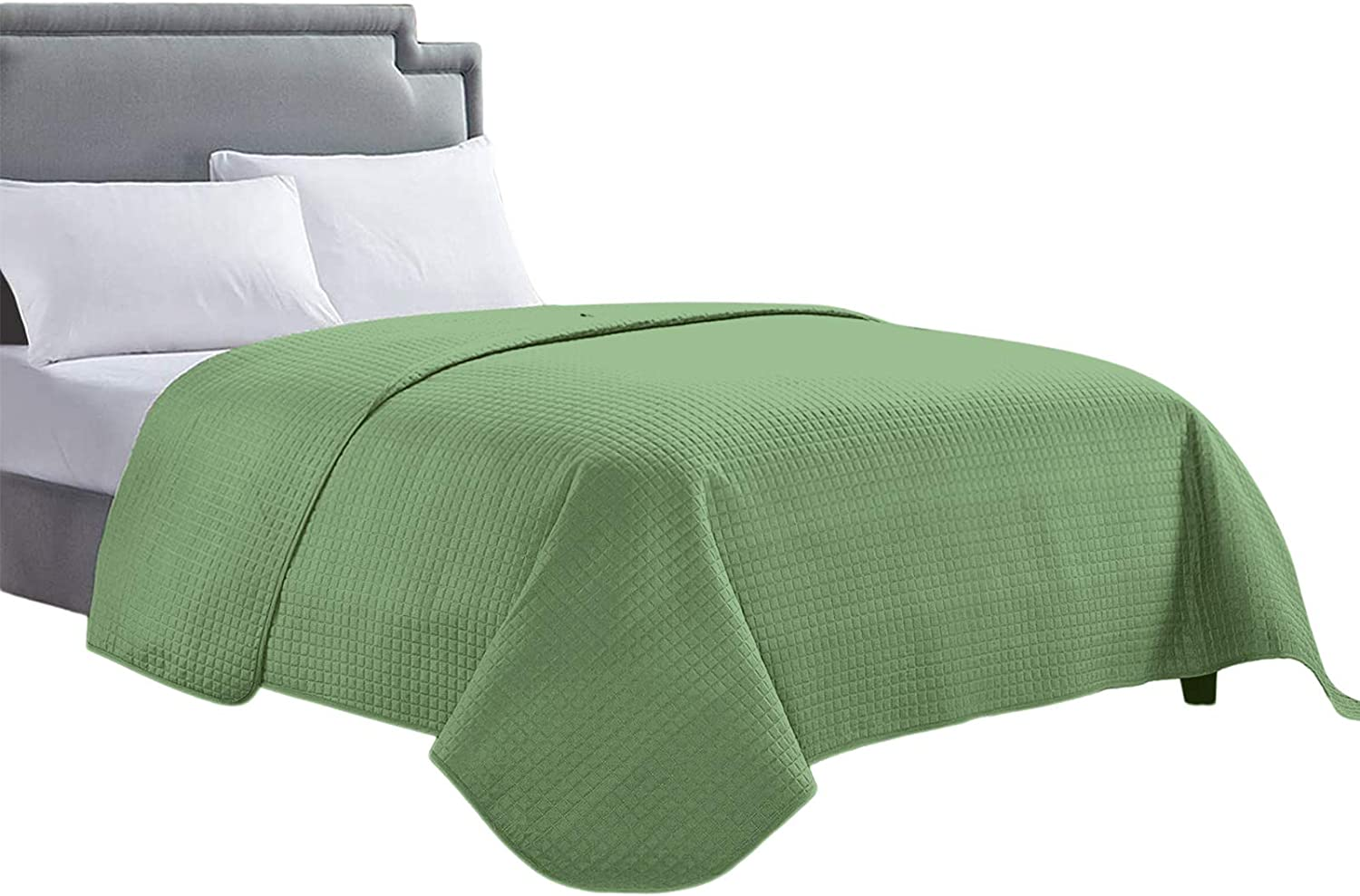 HollyHOME Luxury Checkered Super Soft Solid Single Pinsonic Bed Quilt Bedspread Bed Cover, Green, Full/Queen
