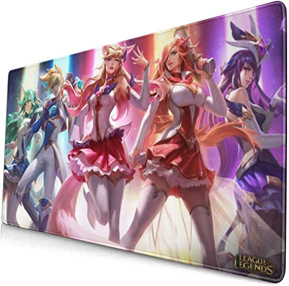 Large Mouse Pad for League of Legends Star Guardians with Stitched Edges Gaming Mouse Mat Non-Slip Rubber Base Mousepad for Laptop