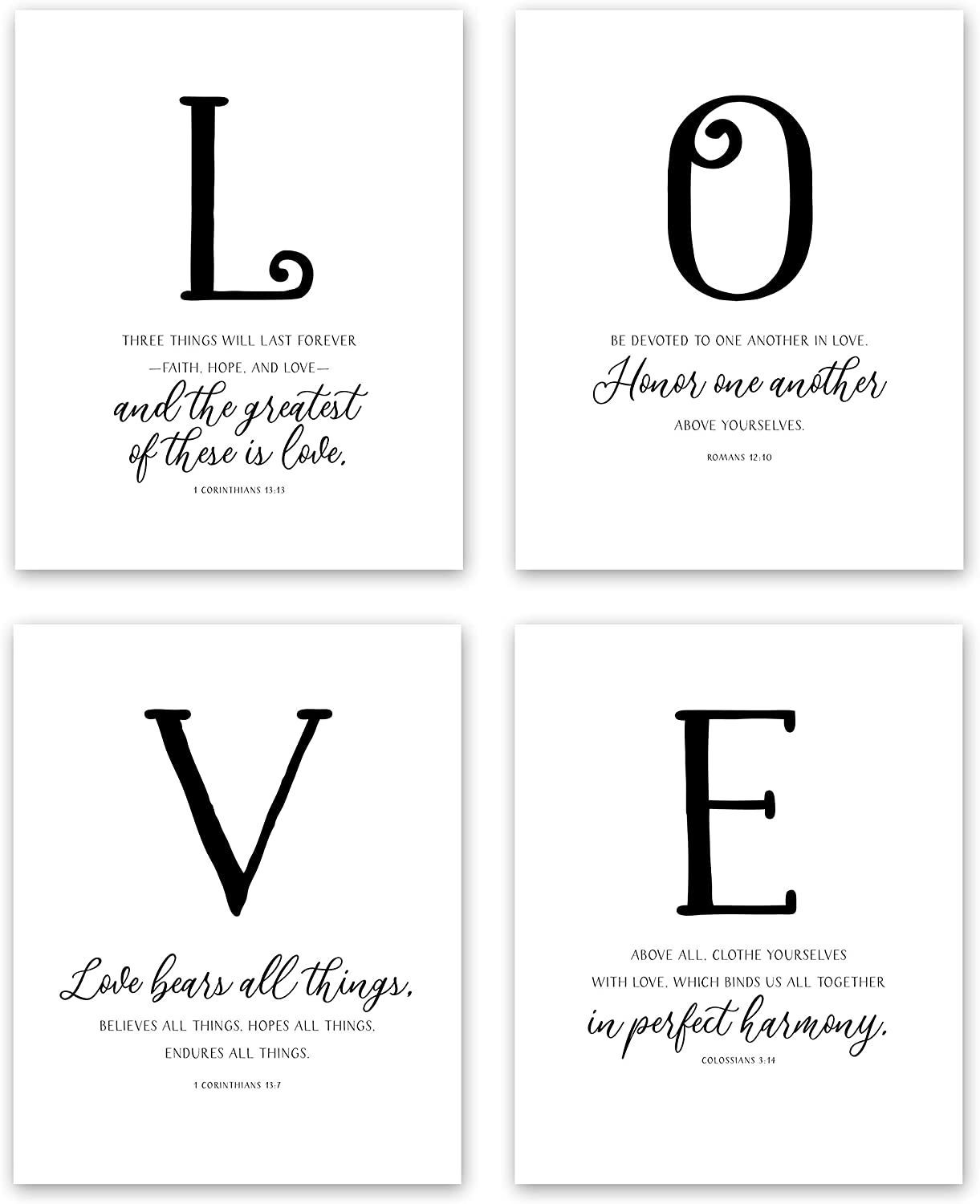 LOVE Wall Decor - Inspirational Scripture Wall Art - Hand Lettering Bible Verses Wall Decor - Christian Wall Decor (4 Piece Wall Art Set: 1 Corinthians 13 Wall Art, Romans 12 10) (8x10 Unframed)