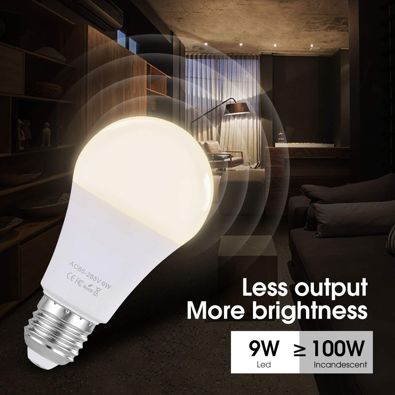 Bombilla inteligente de 9W LED WiFi lámpara multicolor DEFGOTOP funciona con Alexa, Echo, Google Home y IFTTT, E27 equivalente a bombilla RGB con función de ...