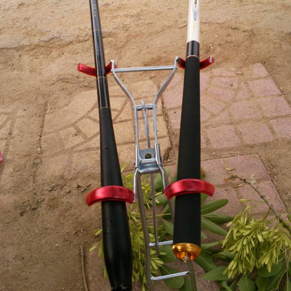 HOMYY Angelrute Doppel Pole Metall Eisen Halterung Rest leicht Teleskop Angelrute St/änder