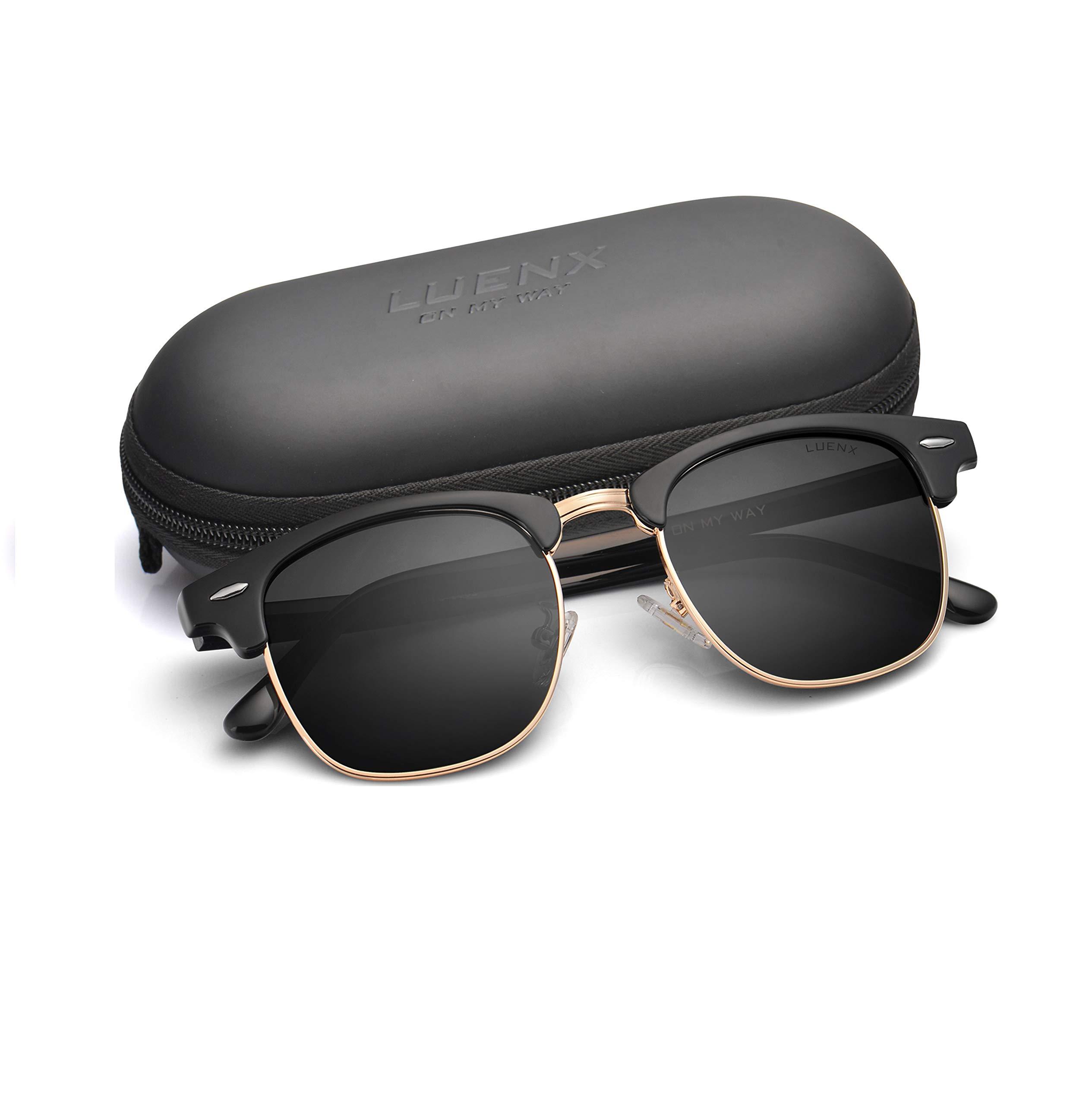 LUENX Men Women Semi Rimless Polarized Sunglasses:UV 400 Protection 51MM with Case (23 Black(Matte Frame)/Non-mirror, 51) by LUENX