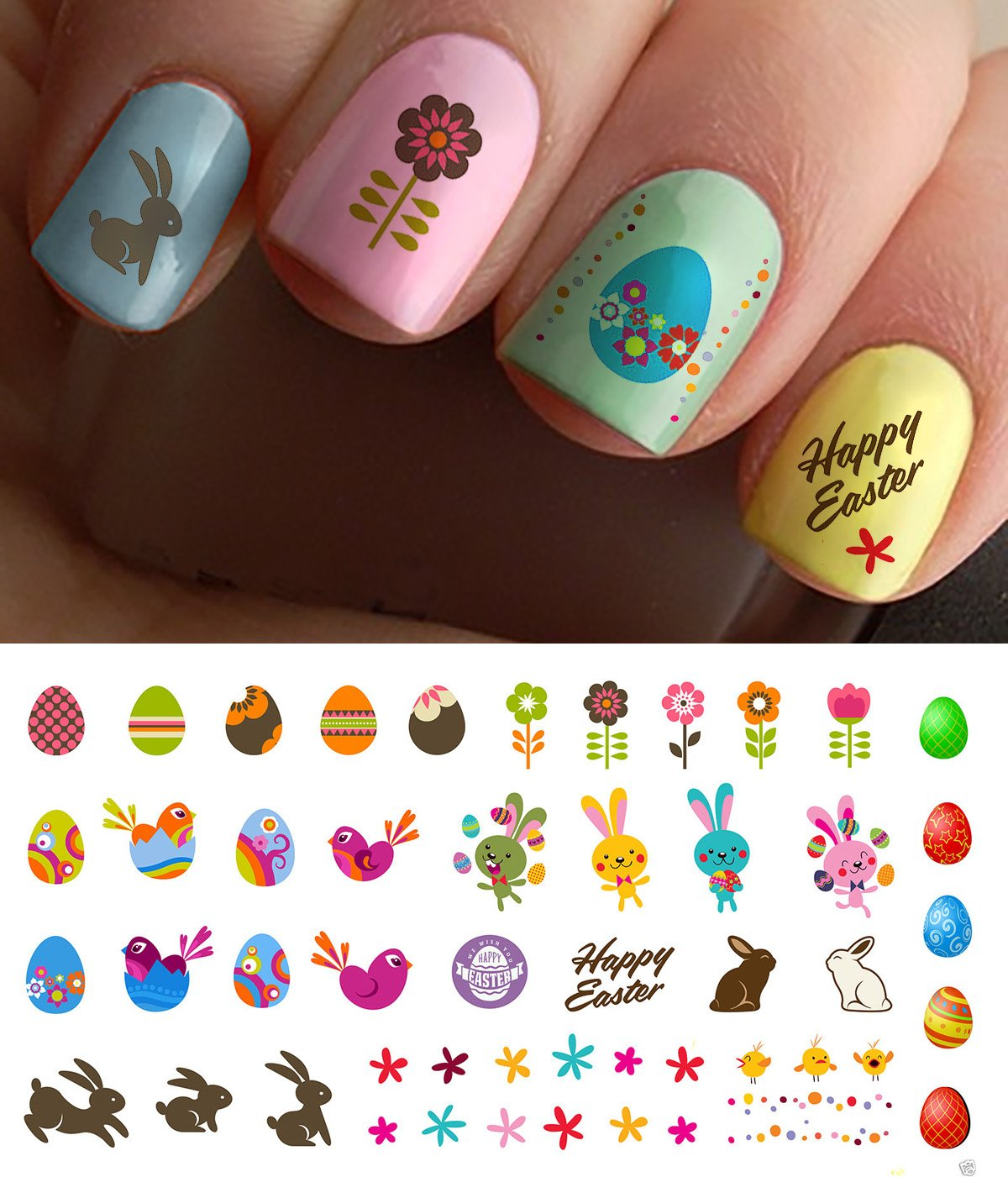 "Easter Nail Decals Assortment #1 Water Slide Nail Art Decals - Salon Quality 5.5"" X 3"" Sheet!"