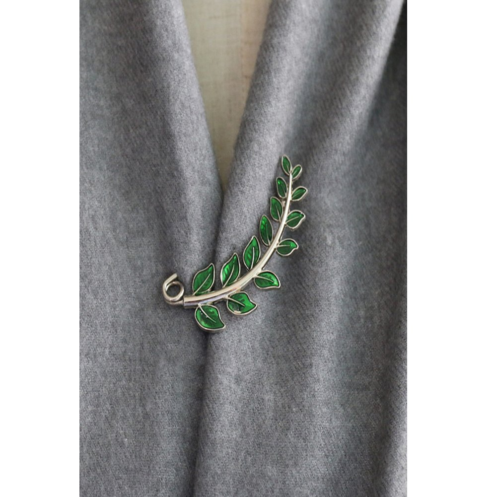 Joyci Vintage Green Leaf Brooch Cardigan Pin Shawl Brooch Buckle Sweater Knitwear Lapel Pin (Silver plated)