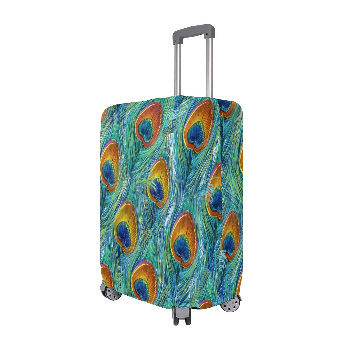 VIKKO Beautiful Peacock Feather Travel Luggage Cover Suitcase Cover Protector Travel Case Bag Protector Elastic Luggage Case Cover Fits 26-28 Inch Luggage for Kids Men Women Travel