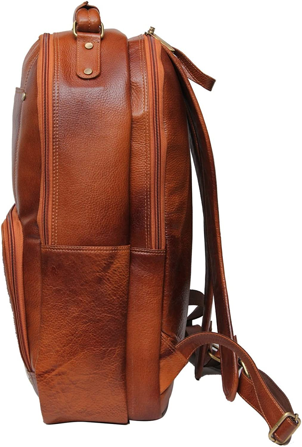 Marching Antz Leather 18 Inch Laptop Back Pack in Black