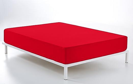 ESTELA - Sábana Bajera Ajustable Combi Color Rojo - Cama de 150 cm ...