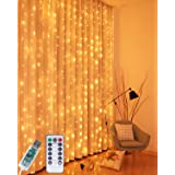 Litogo Curtain Lights, 9.8 X 9.8ft 300 LED Curtain Fairy Lights Curtain String Lights Hanging Lights USB 8 Modes Remote Contr