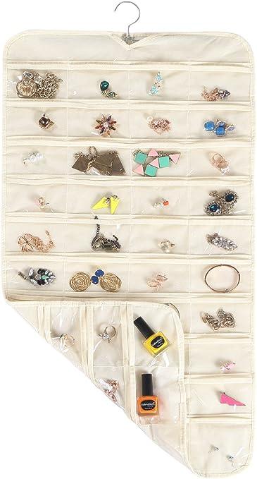 40 Poches Noir 15.7 W x 25.6 H Bracelets MotGlobal Organiseur de Bijoux /à Suspendre Double Face pour Boucles doreilles Colliers