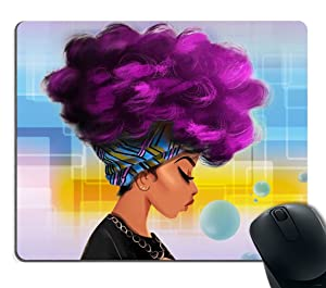 Smooffly Mouse Pad Custom Design,African Women with Purple Hair Hairstyle Mouse pad 9.5 X 7.9 Inch (240mmX200mmX3mm)