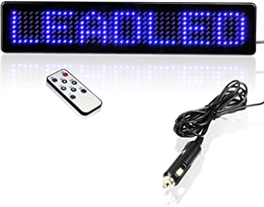 Leadleds 12V Car LED Programmable Message Sign Scrolling Display Board with Remote (Blue)