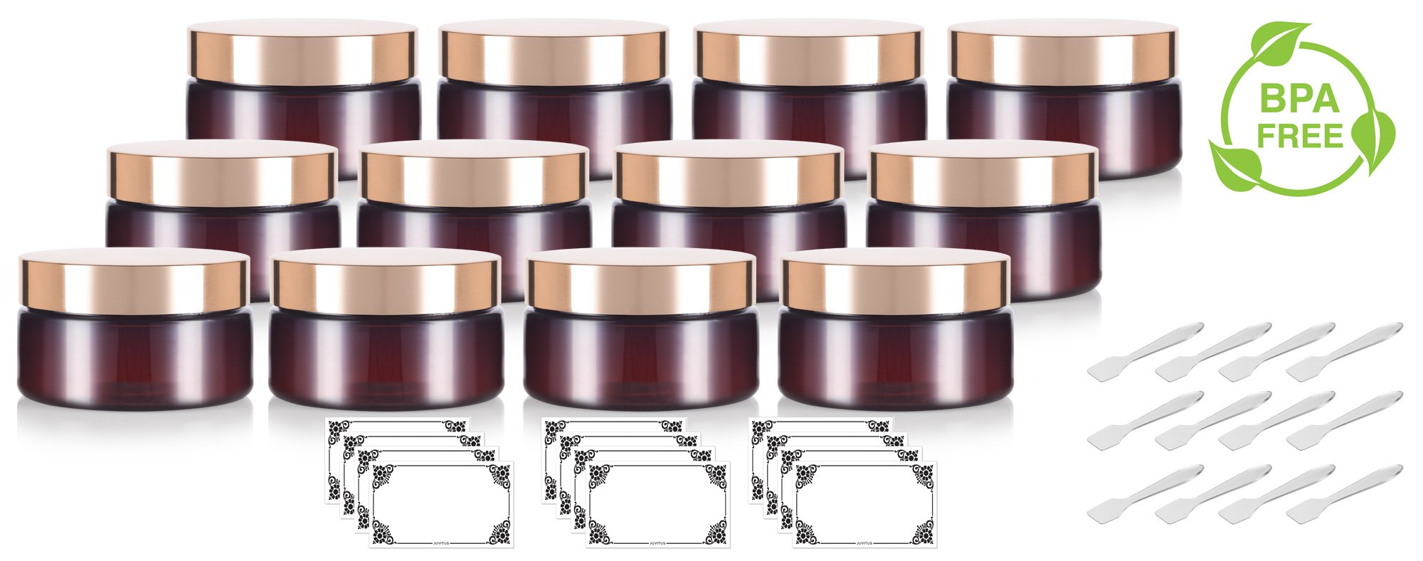 Amber PET Plastic (BPA Free) Refillable Low Profile Jar with Gold Metal Overshell Lid - 8 oz (12 Pack) + Spatulas and Labels