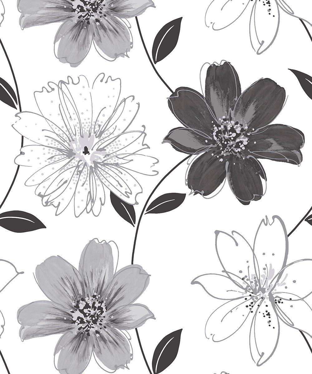 Arthouse Glitter Samba Floral Black White Wallpaper 699909 Feature Large Floral