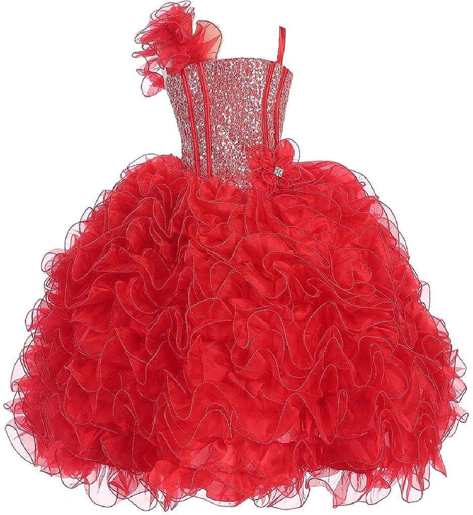 Amazon.com: Little Girls Princess Pageant Girl Ball Gown Flowers ...