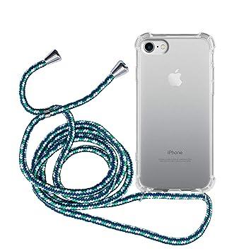 MyGadget Funda Transparente con Cordón para Apple iPhone 7/8 - Carcasa con Cuerda y Esquinas Reforzadas con Correa - Azul Camuflaje