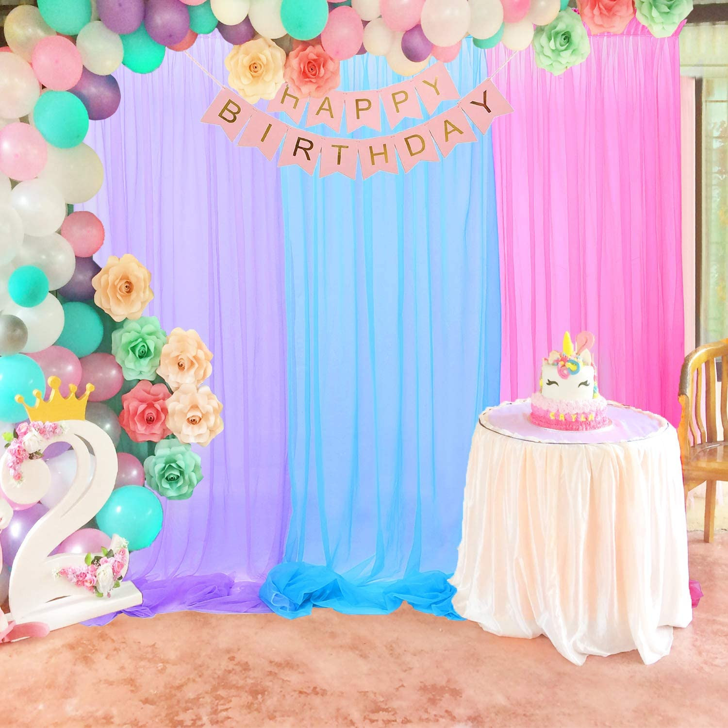 leegleri rainbow tulle backdrop curtains for parties wedding unicorn sheer backdrop background for baby shower birthday 5 ft x 8 ft