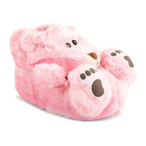 Footwear Sensation - Zapatillas de estar por casa para mujer Pink Teddy Bear: Amazon.es: Zapatos y complementos