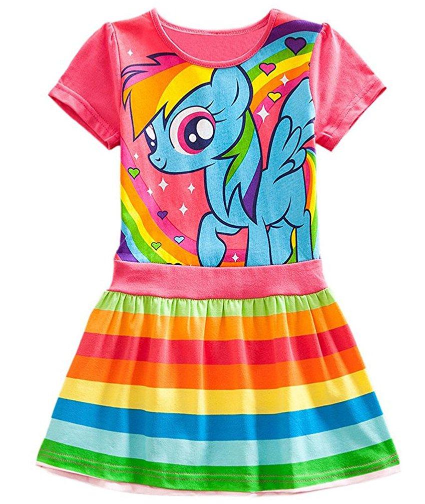 Little Girls My Little Pony Dress Pattern Colorful Striped Dress (6t, Red(Short))