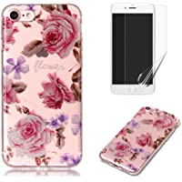 For iphone 7/iphone 8 Case with Pattern Pink Rose,OYIME Glitter Bling Design Ultra Thin Slim Fit Protective Back Cover Soft Silicone Rubber Shell Drop Protection Anti-Scratch Transparent Bumper and Screen Protector