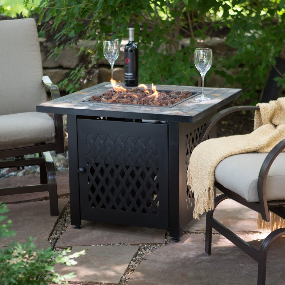 Amazon.com : UniFlame Slate Mosaic Propane Fire Pit Table With FREE Cover :  Garden U0026 Outdoor