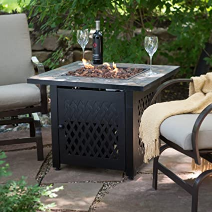 Charmant UniFlame Slate Mosaic Propane Fire Pit Table With FREE Cover