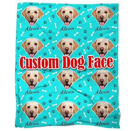 940cc4c12002 Amazon.com: Nictimeid Your Dog Face Print on Blanket Throws - Custom Dog  Mom Dad Gifts Blanket, 50