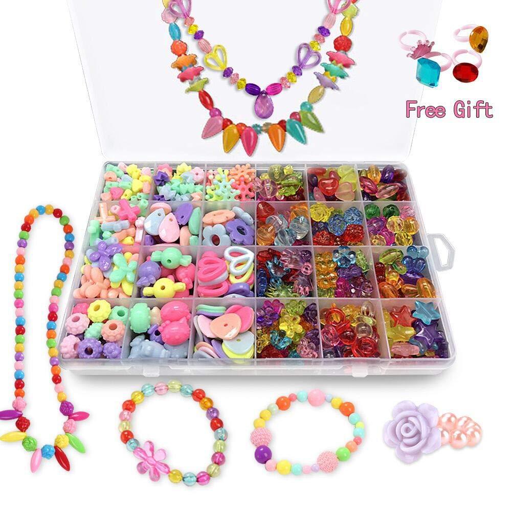 ANDYKEN Bead Kits for Jewelry Making - Craft Beads for Kids Girls Jewelry Making Kits Colorful Acrylic Girls Bead Set Jewelry Crafting Set
