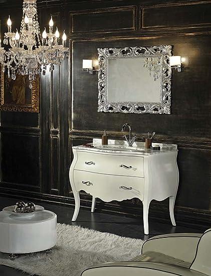 Arredo Bagno Barocco Moderno.Mobile Bagno Shabby Barocco In Bianco Con Cassetti E Gambe