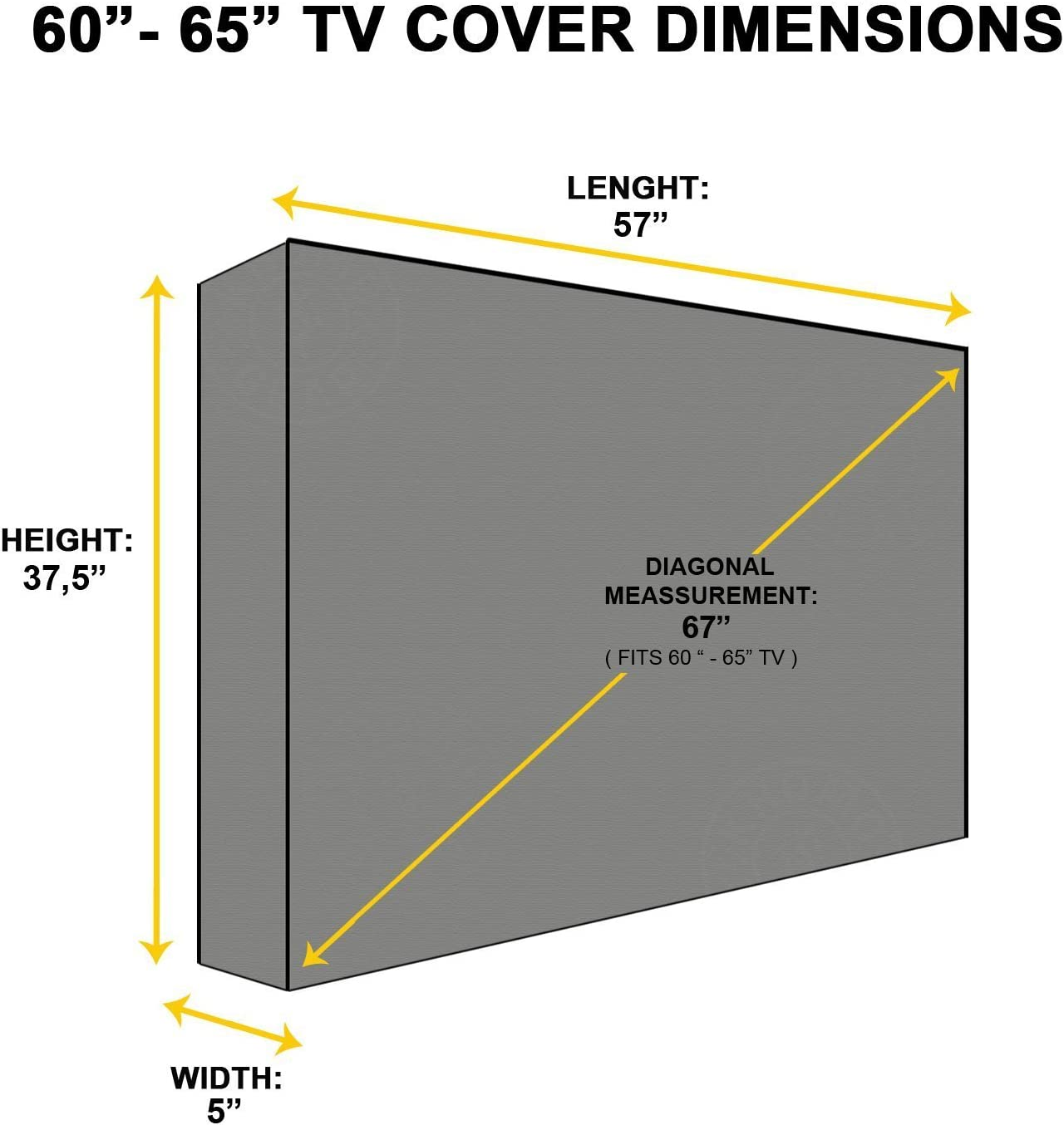 Black Outdoor TV Cover Waterproof Television Protector For 22/'/' to 65/'/' LCD LED
