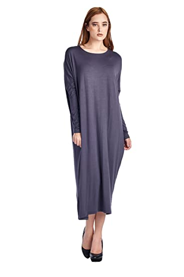 82 Days Women'S Rayon Span Long Sleeves Butterfly Fit Jersey Dress - Dark Gray M
