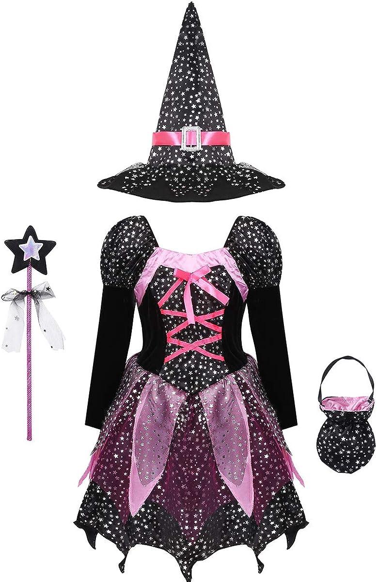 ranrann Disfraz de Bruja Niña Vestido Tutú Princesa Brillantes Estrellas con Sombrero Bolsa de Dulces Varita Traje Reina Oscuridad para Halloween Fiesta