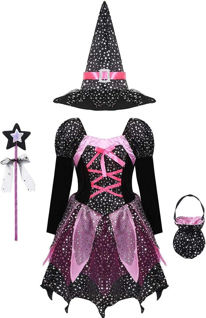 ranrann Disfraz de Bruja Niña Vestido Tutú Princesa Brillantes ...