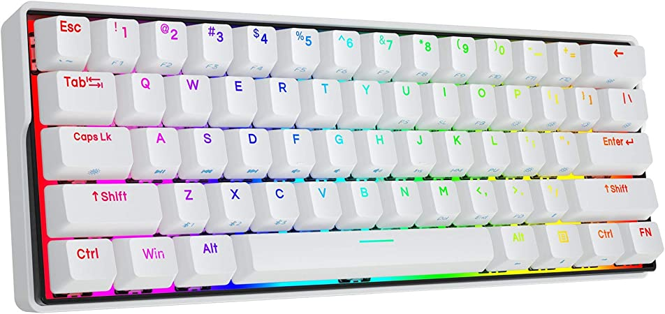 KEMOVE Snowfox 60% Teclado Gaming mecánico Bluetooth 5.1 Inalámbrico/Type-C 61 Teclas Teclado de Juegos RGB Hot-Swap Teclas PBT 3000mAh Batería NKRO ...
