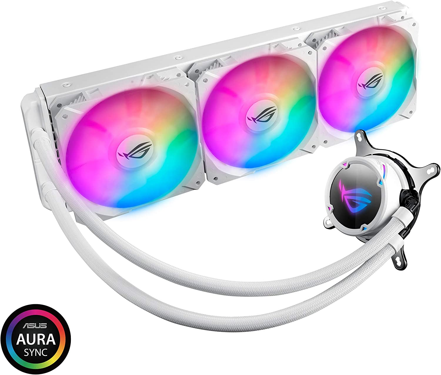 ASUS ROG Strix LC 360 RGB White Edition All-in-one Liquid CPU Cooler with Aura Sync RGB, and Triple ROG 120mm addressable RGB Radiator Fans