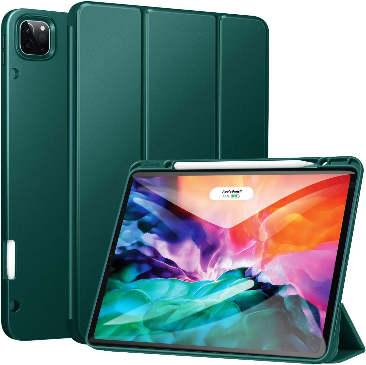 Ztotop Case for New iPad Pro 12.9 Inch 4th & 3rd Generation 2020/2018 with Pencil Holder, Full Body Protective Rugged Shockproof Cover with Auto Sleep/Wake, Support 2nd Gen Pencil Charging, Ink Green