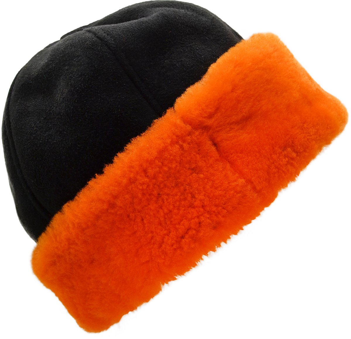 Surrell Womens SIX Section Cuff HAT Black Orange by Surrell