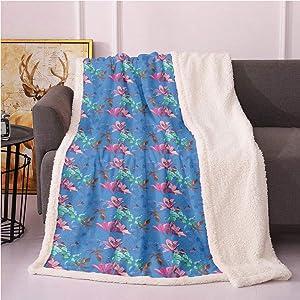 SeptSonne Floral Fleece Blanket,Vibrant Tones of Blooming Lilies Phloxes Garden Art Nature Composition Flannel Bed Blankets,Print Artwork Throw Blankets(40x50,Azure Blue Multicolor)