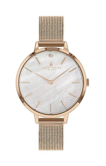 Sara Miller The Diamond Collection SA4018 - Reloj con Correa de Malla bañada en Oro Rosa: Amazon.es: Relojes