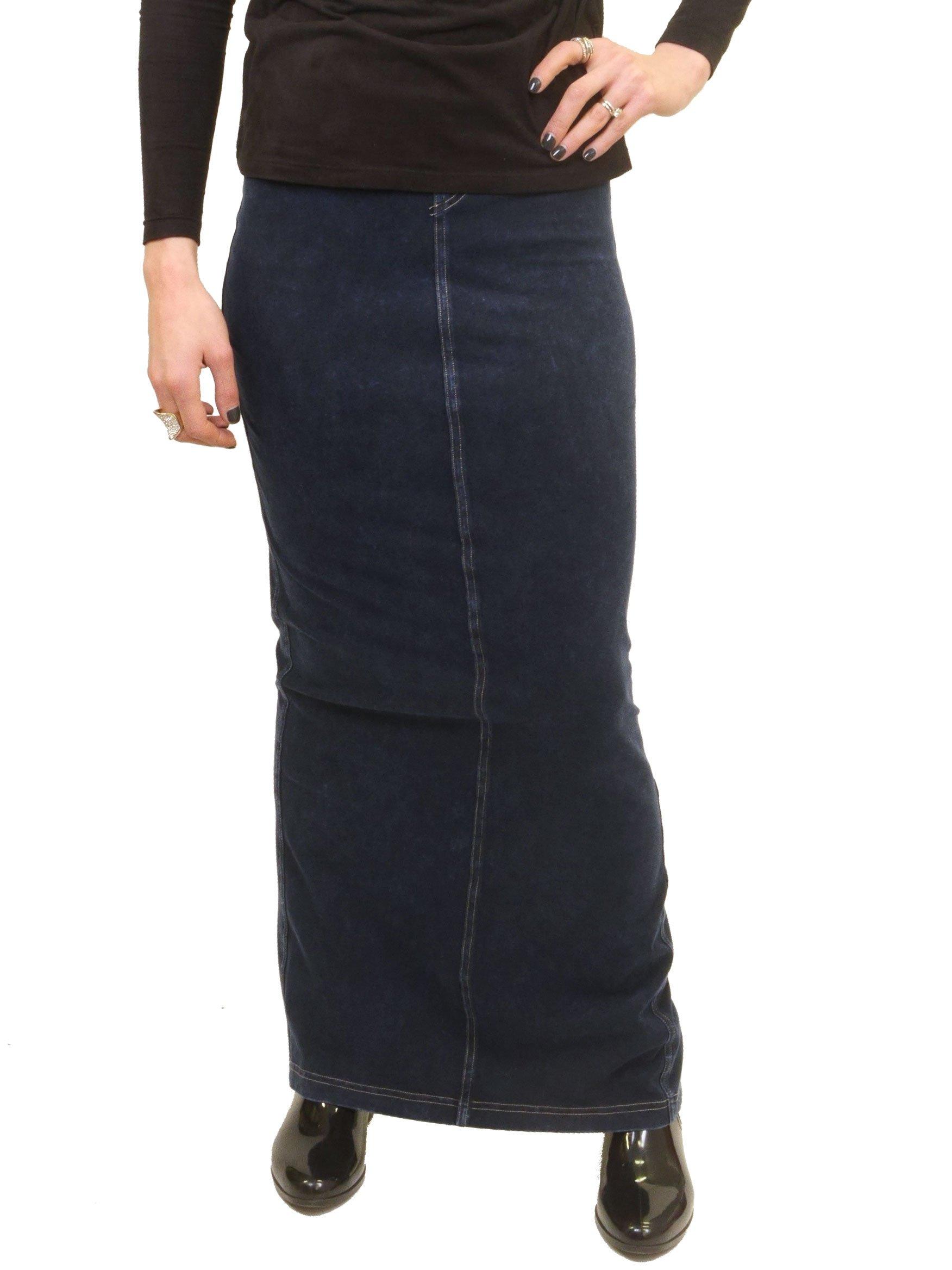 Hardtail Long Denim Pocket Skirt (M, Dark Denim) by Hard Tail