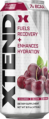Scivation XTEND Carbonated Zero Sugar Hydration Recovery Drink, Branched Chain Amino Acids, Electrolytes Performance BCAAs, Black Cherry, 16 Ounce Cans Pack of 12