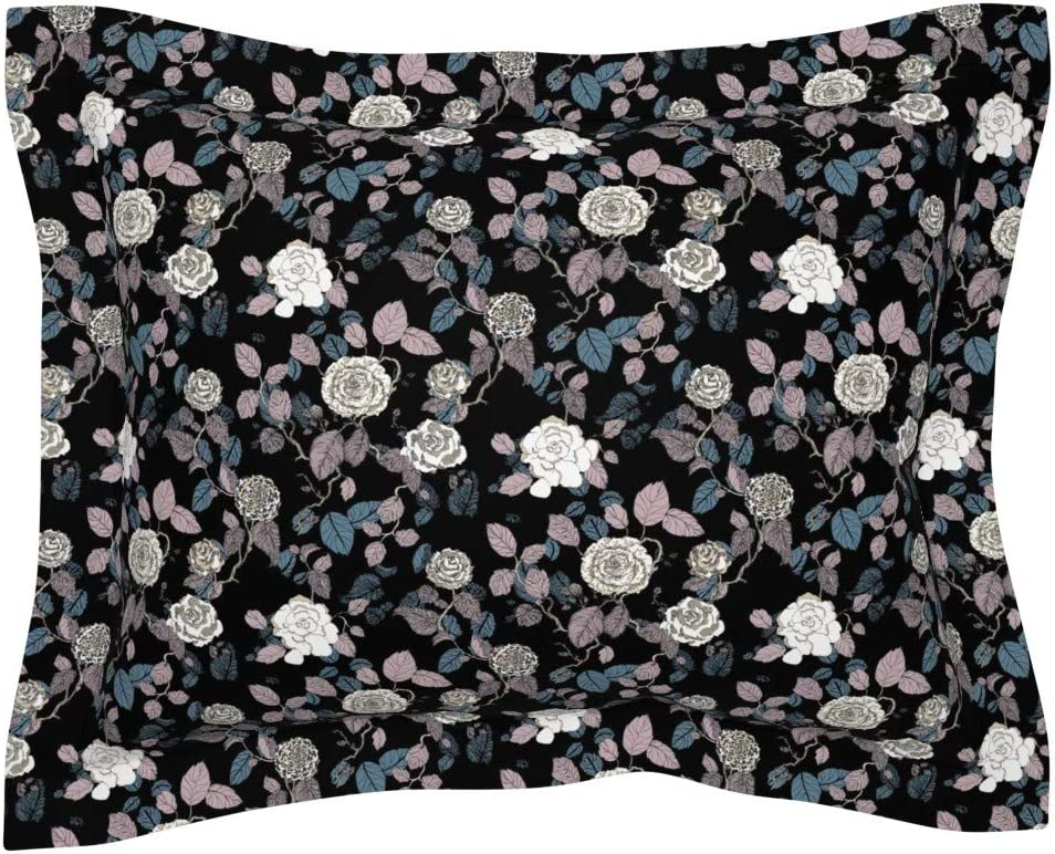 Roostery Pillow Sham, Floral Rose Garden Nature Plant Flowers Modern Print, 100% Cotton Sateen 30in x 24in Flange Sham