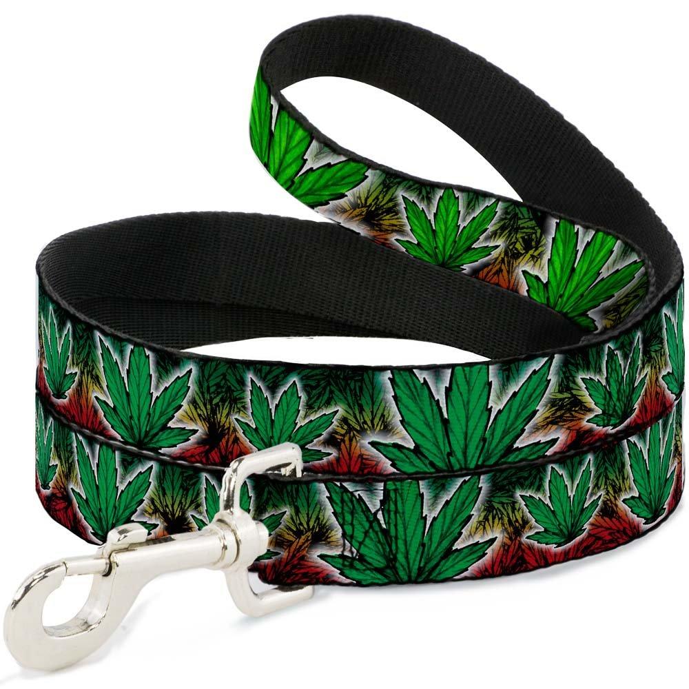 Buckle-Down DL-W31348-N Narrow 0.5  Marijuana Haze Rasta White Dog Leash, 4'